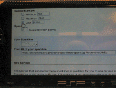 Photo of the     sparklines generator working on the PSP.