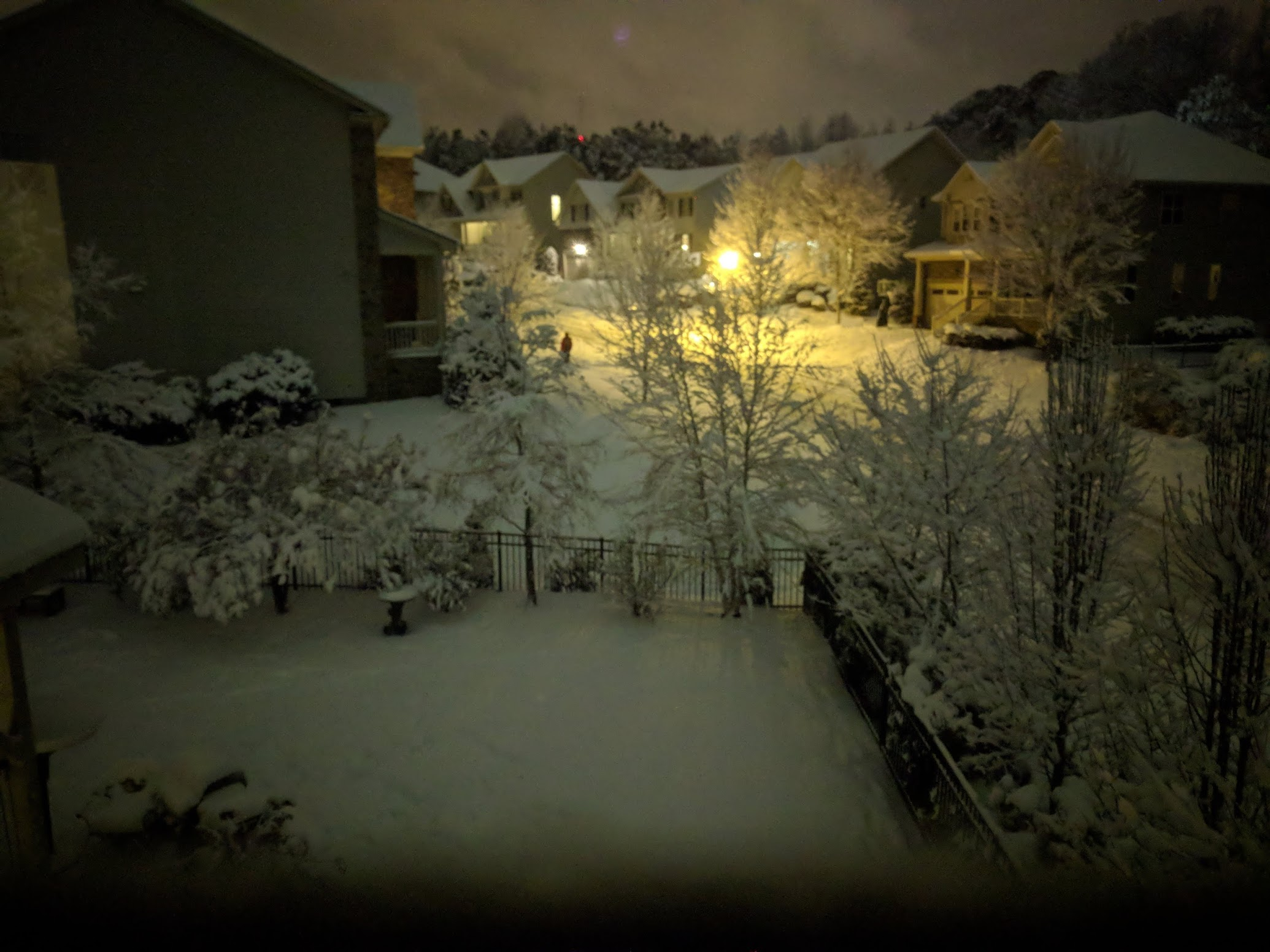 Fallen snow at night