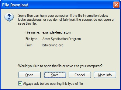 MS Internet Explorer warning box about files of certain types.