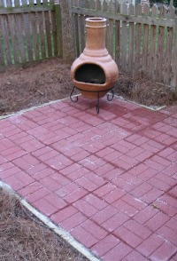 Photograph of the brick paver patio.